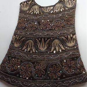 Handbags - Brown and Gold Glitter Oblong Purse